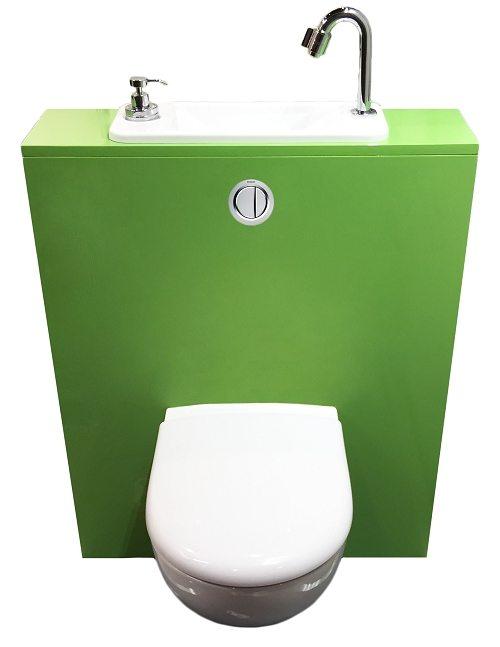 WC suspendu avec lave-mains WiCi Next deco noire