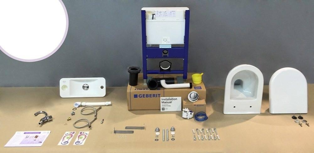 Composition kit WC suspendu avec lave-mains WiCi Bati - bâti-support Geberit version pneumatique