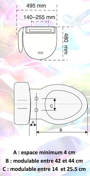 Dimensions pour abattant WC japonais Blu-T